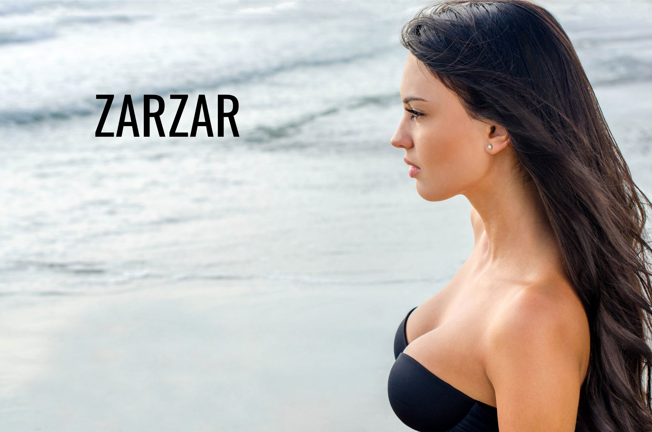 ZARZAR FASHION Swimwear For Women (Bikinis For Women). Sexy Brunette Girl Looking At The Beautiful Ocean (The Beautiful Sea).