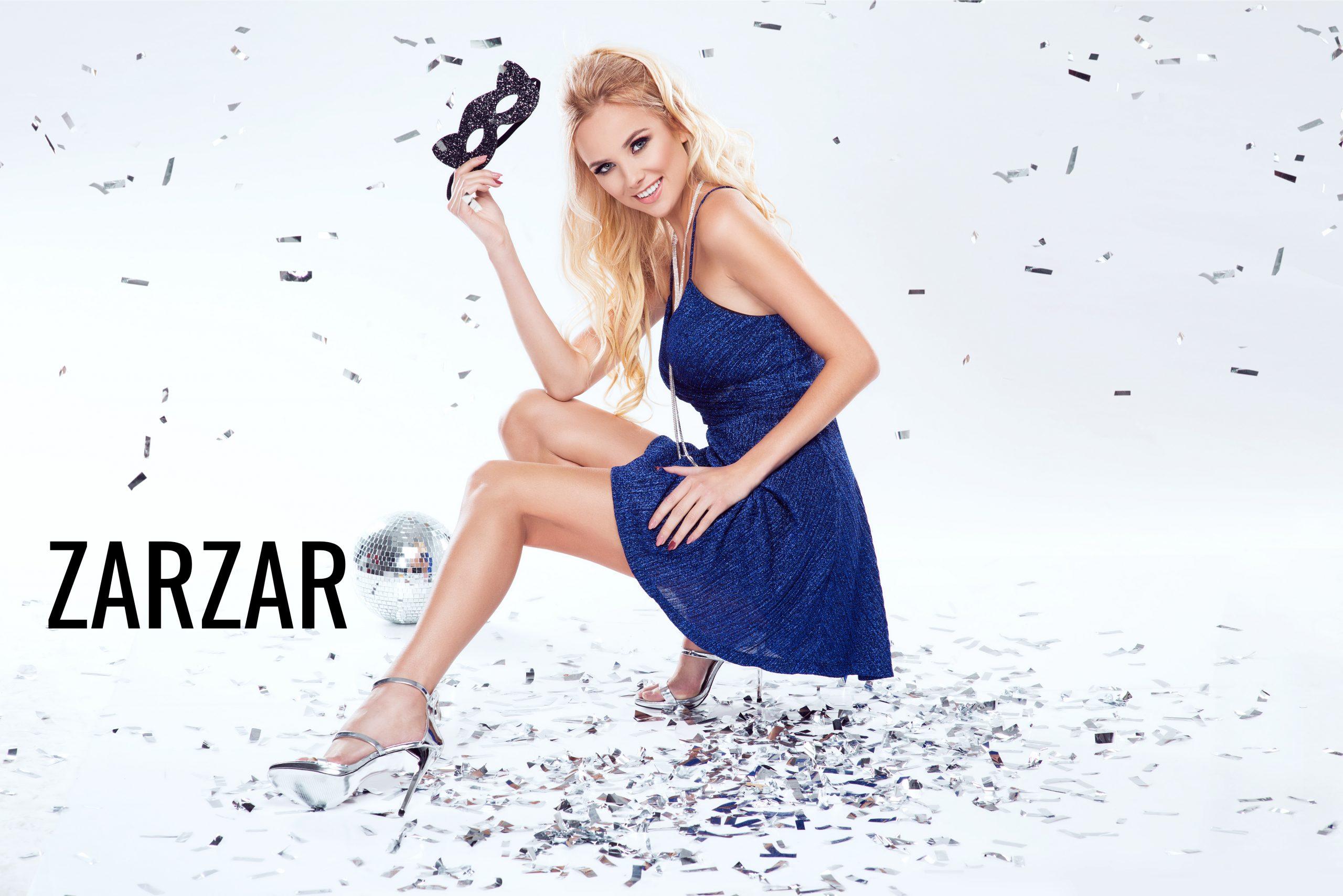 ZARZAR FASHION Beautiful Dresses. Beautiful Young Blonde Woman In Sexy Blue Dress.