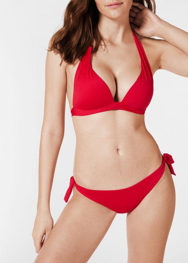 Sexy Extra Padded Push Up Triangle Bikini Tops. Red Color Bikinis & Beautiful Swimwear For Women.