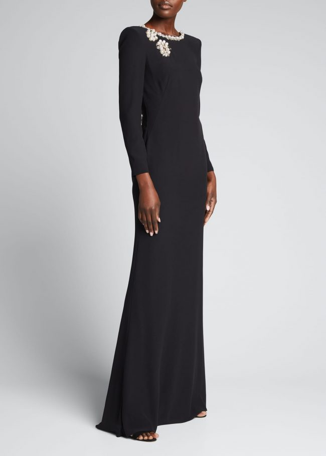 ALEXANDER MCQUEEN Long-Sleeve Gown with Pearl Detail.