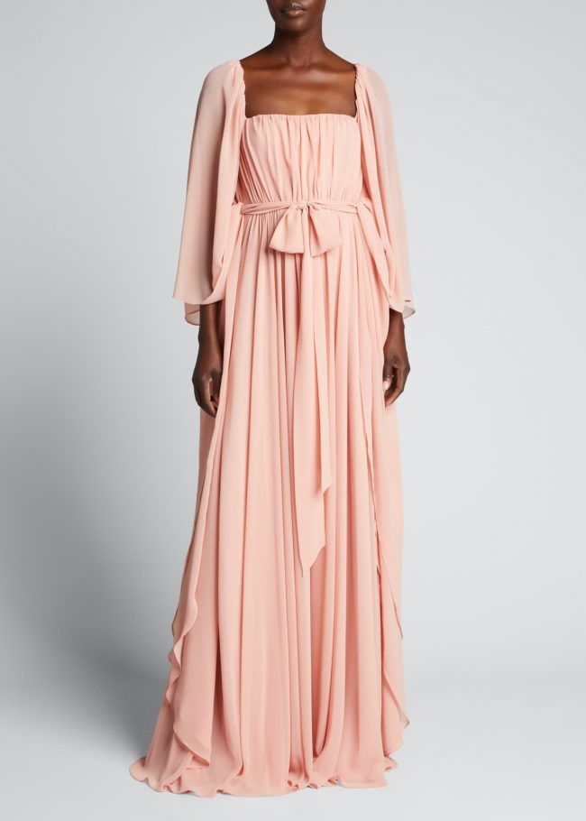 BADGLEY MISCHKA COLLECTION Shirred Caftan Gown With Self-Belt.