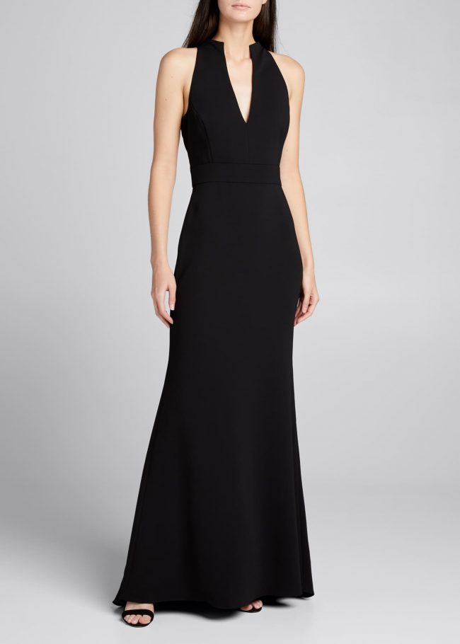 BADGLEY MISCHKA COLLECTION V-Neck Column Gown with Cut-In Shoulders.