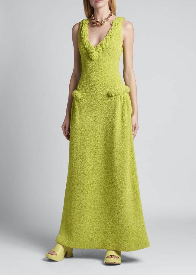 BOTTEGA VENETA Towelling Knit Fringe A-Line Gown.