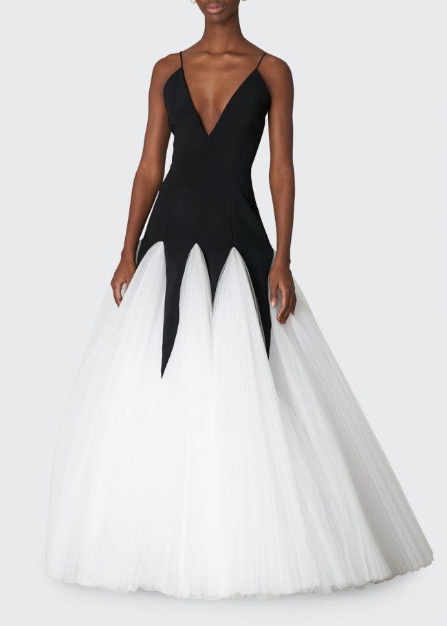 CAROLINA HERRERA Bicolor V-Neck Godet Gown.