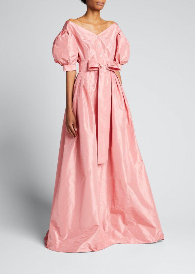 CAROLINA HERRERA Off-The-Shoulder Puff-Sleeve Bow Gown.