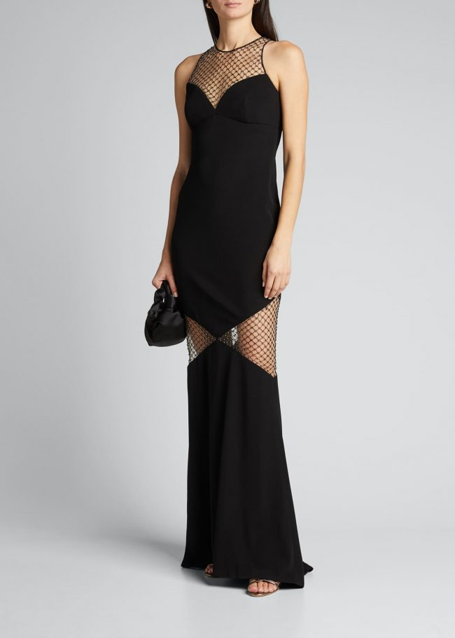 CDGNY Sweetheart Illusion Mesh Gown.