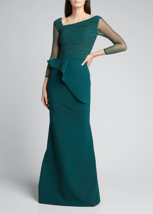 CHIARA BONI LA PETITE ROBE Rippy Asymmetrical Sleeve Illusion Gown.