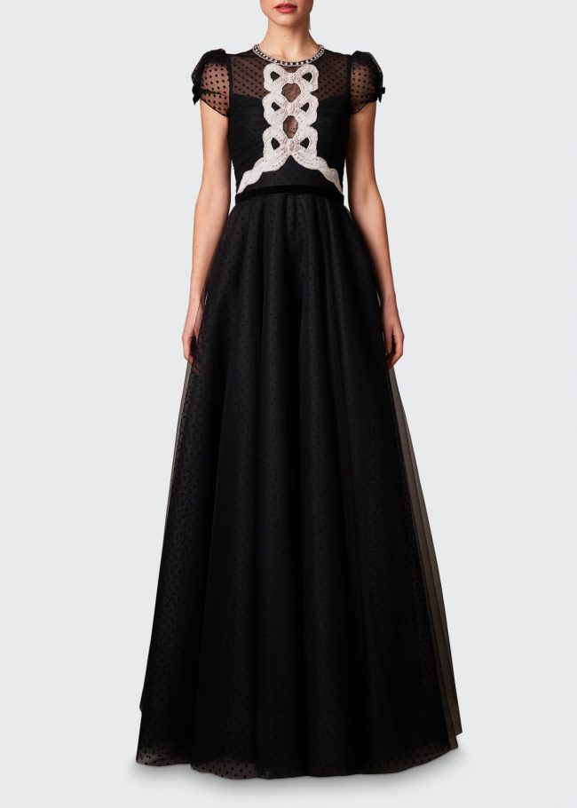 JENNY PACKHAM Crystal-Embellished Dotted-Tulle Gown.