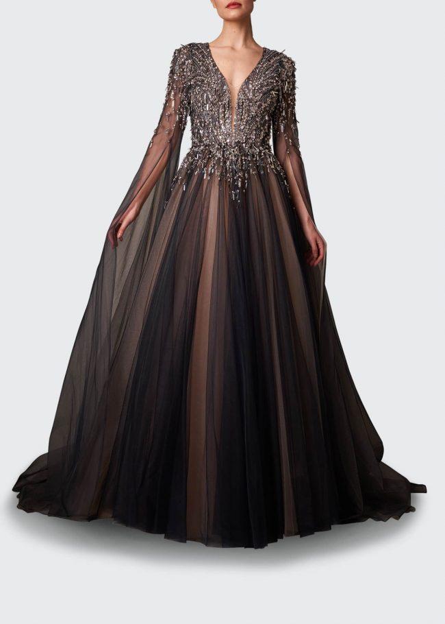 JENNY PACKHAM Crystal-Embellished V-Neck Gown.