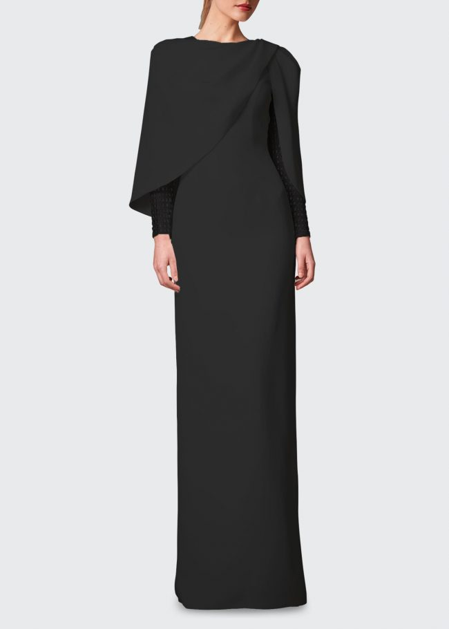 JENNY PACKHAM Embroidered-Sleeve Cape Column Gown.