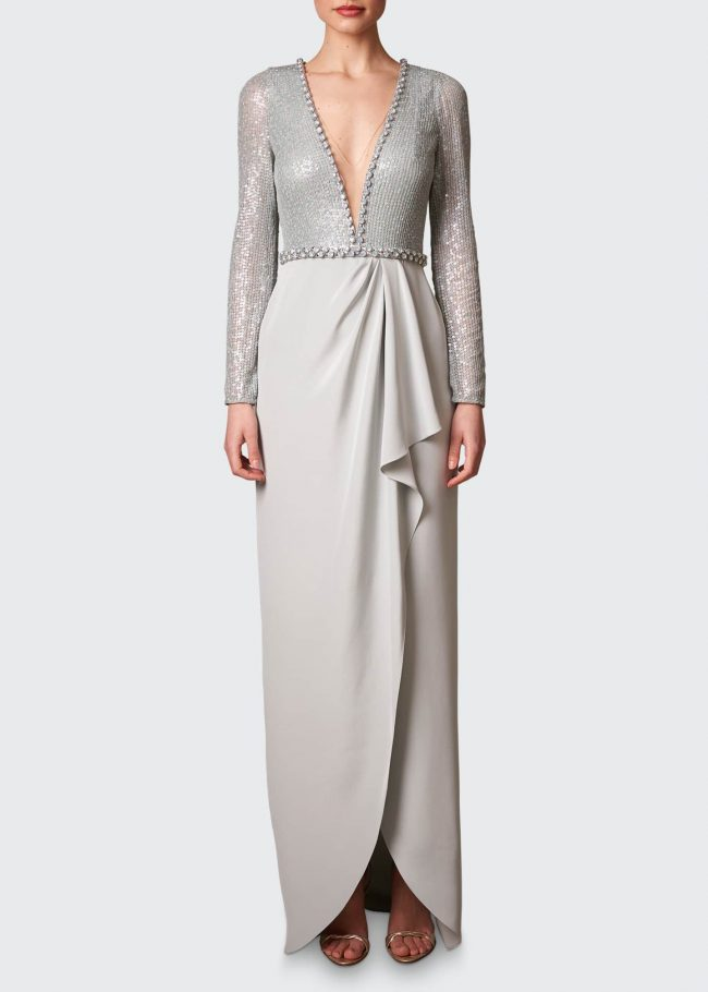 JENNY PACKHAM Mixed-Media Illusion Gown with Crystal Beading.