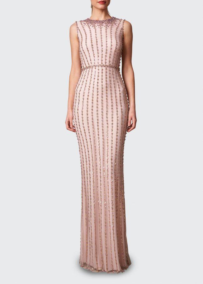 JENNY PACKHAM Stripe-Beaded Sleeveless Gown.