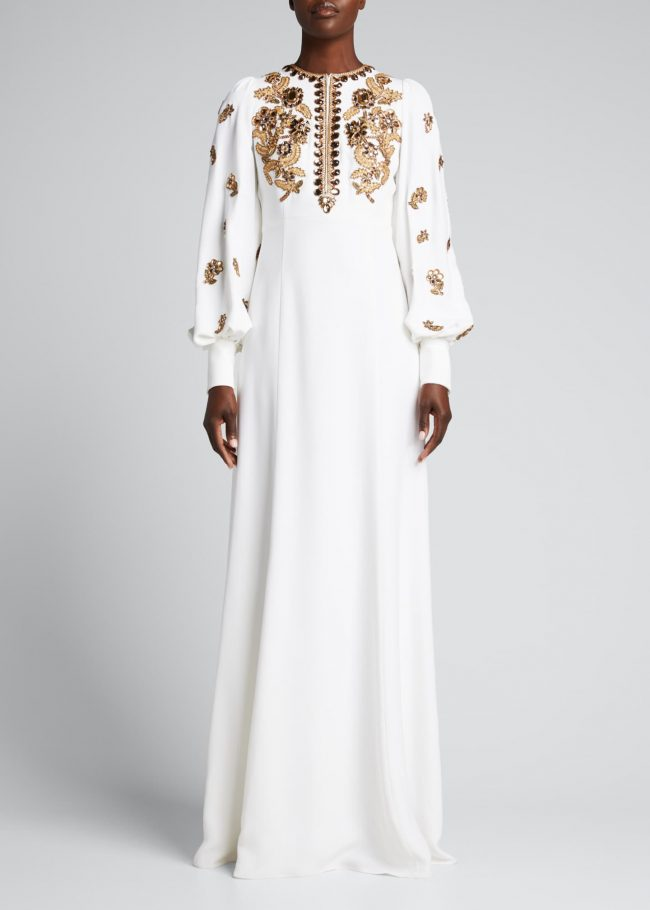 Jewel-Embroidered Balloon-Sleeve Gown.