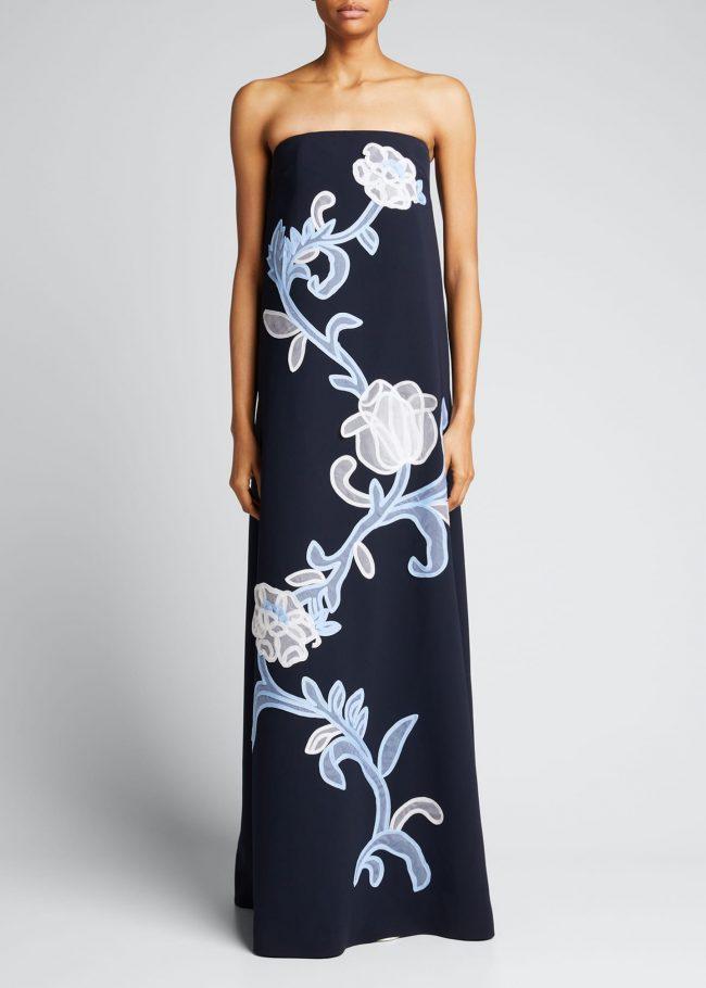 LELA ROSE Floral-Applique Strapless Gown.