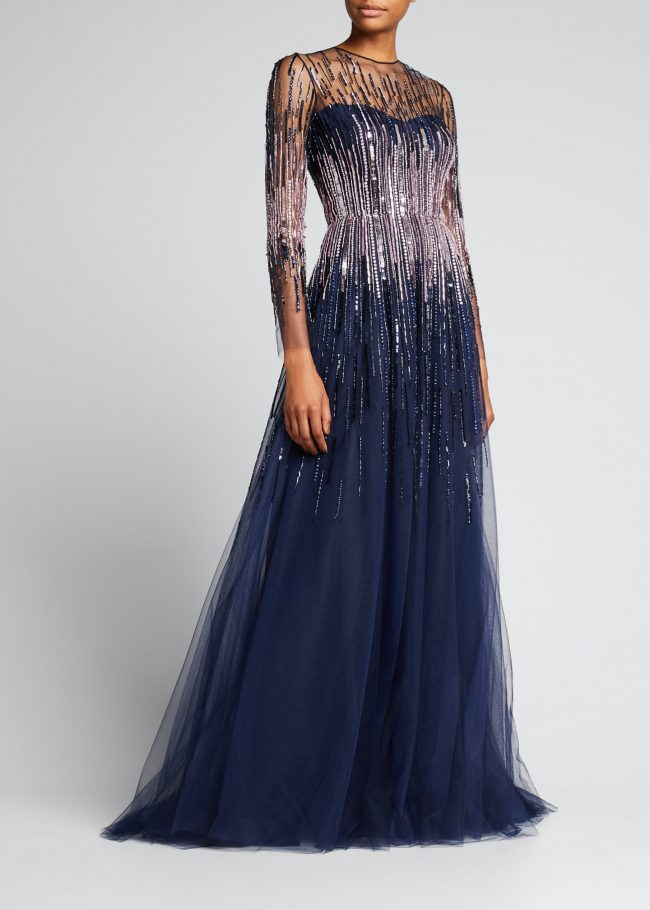 Linear Sequin Illusion Gown.