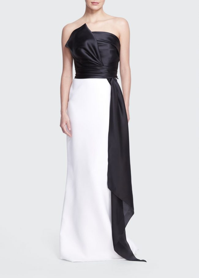 MARCHESA Colorblock Strapless Silk Gown with Bow Sash.
