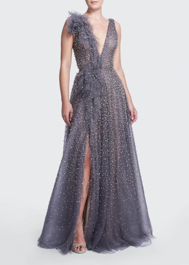 MARCHESA Crystal-Embellished Gown with Ruffle Draping.