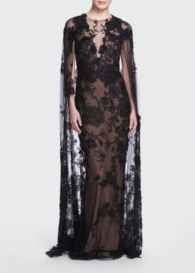 MARCHESA Lace Illusion Gown with Removable Cape.