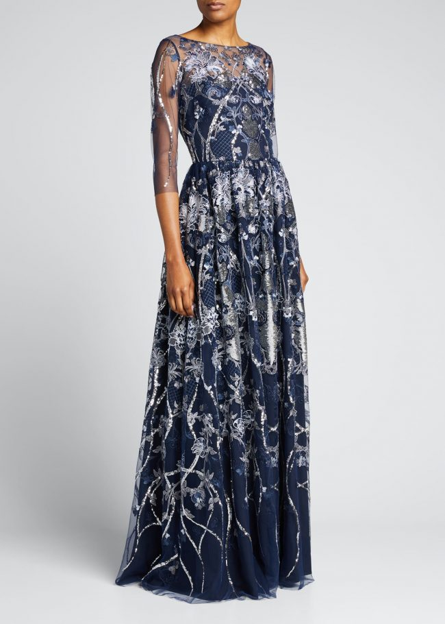 MARCHESA NOTTE Sequin Embroidered Tulle A-Line Gown.