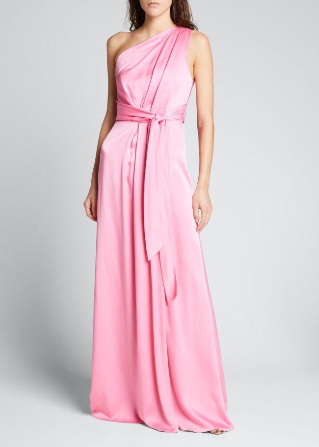 MONIQUE LHUILLIER Belted One-Shoulder Draped Gown.