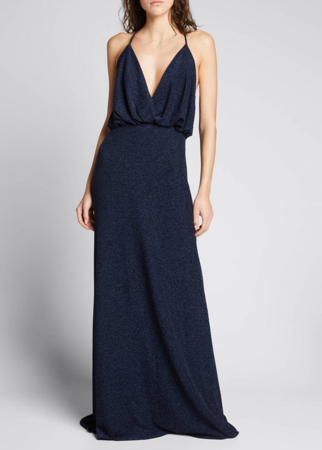 MONIQUE LHUILLIER Shimmer Plunging-Neck Sleeveless Gown.
