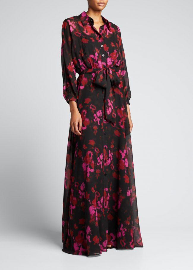 Maxi Print Shirtdress Gown.