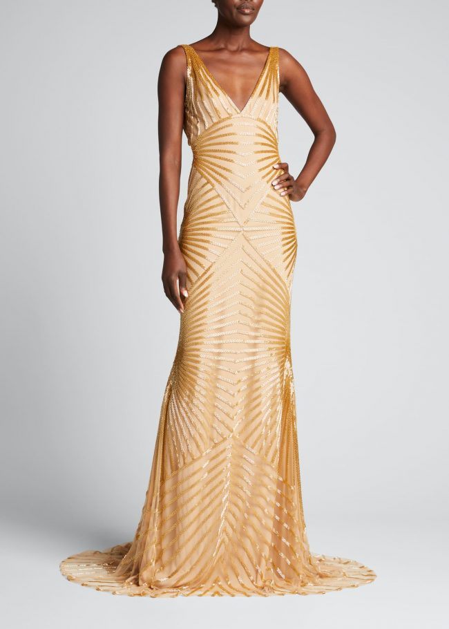 NAEEM KHAN Deco-Beaded Mermaid Gown.