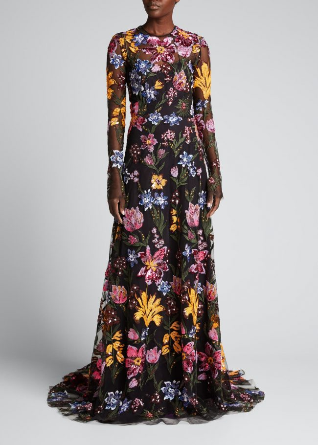 NAEEM KHAN Floral Sequin-Embroidered Tulle Illusion Gown.
