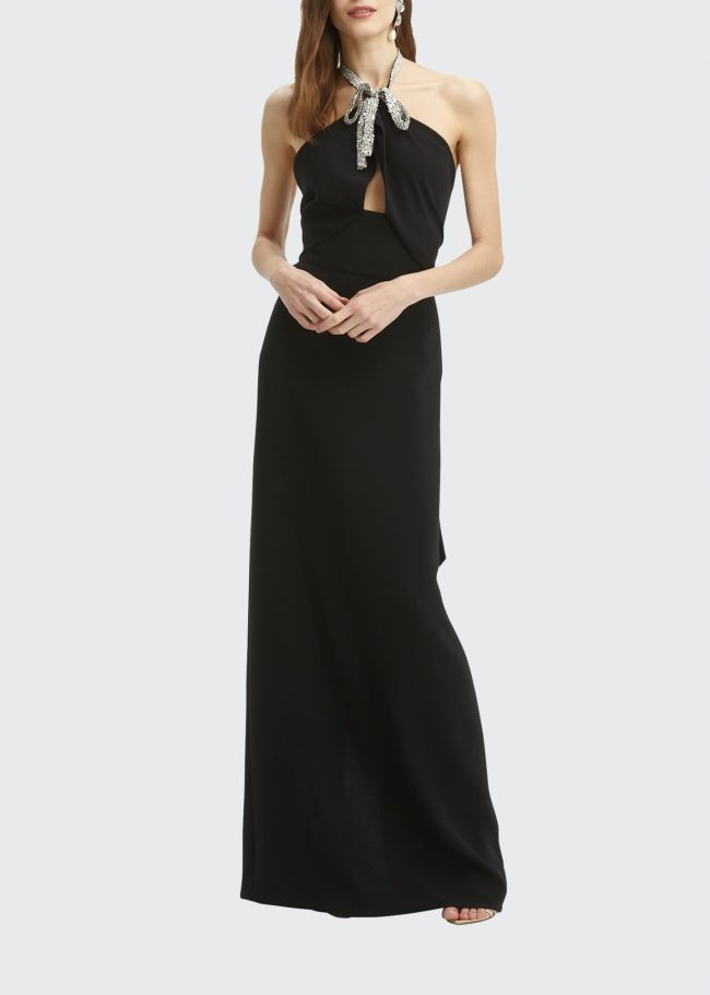 Crystal-Embroidered Halter Fishtail Column Gown.