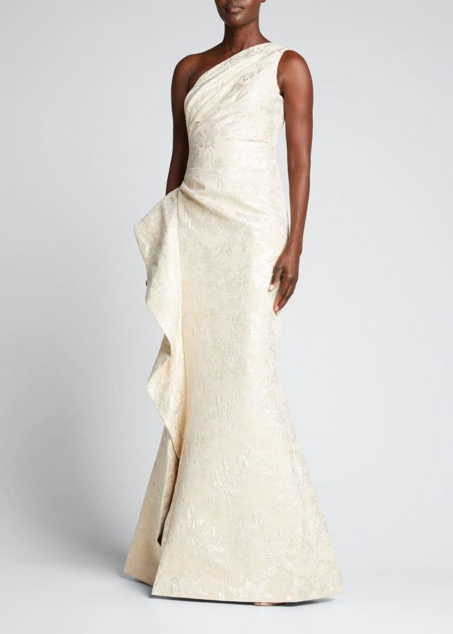 One-Shoulder Side-Ruffle Jacquard Gown.