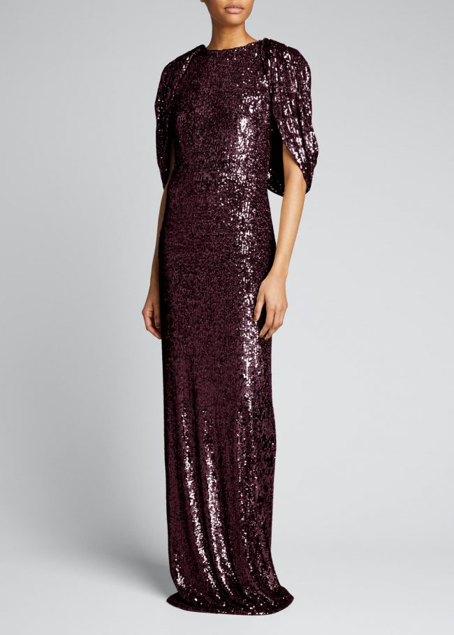PAMELLA ROLAND Sequin Backless Cape Gown.