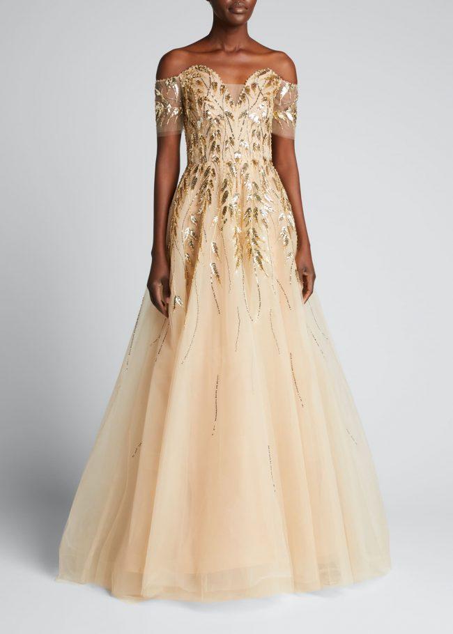 PAMELLA ROLAND Sequin-Embellished Off-The-Shoulder Tulle Gown.