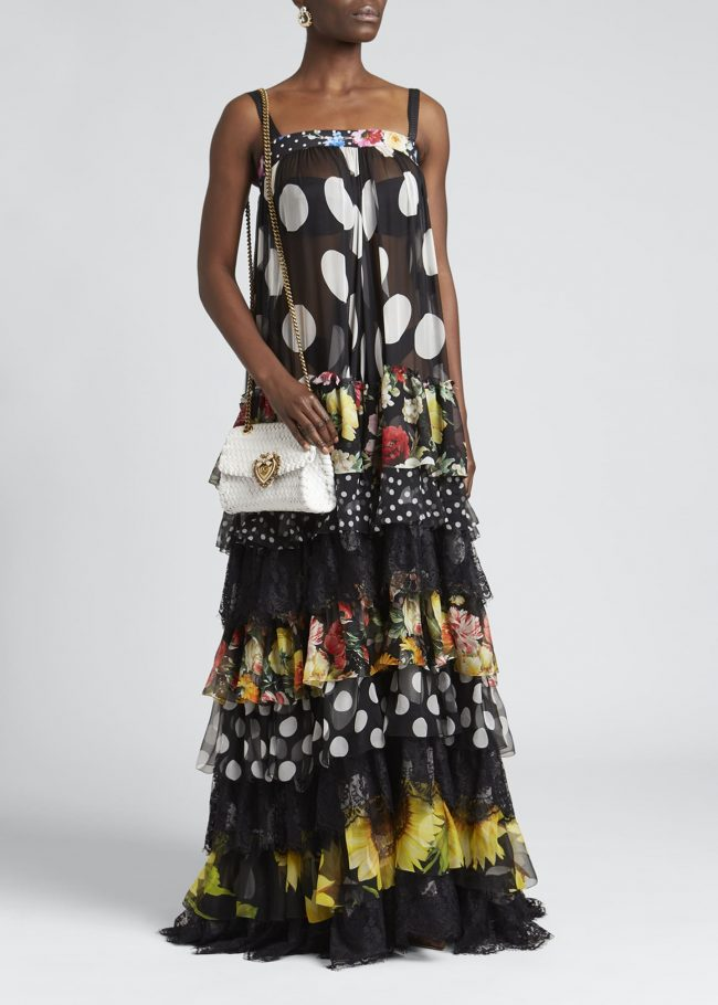 Patchwork-Print Tiered Chiffon Gown.