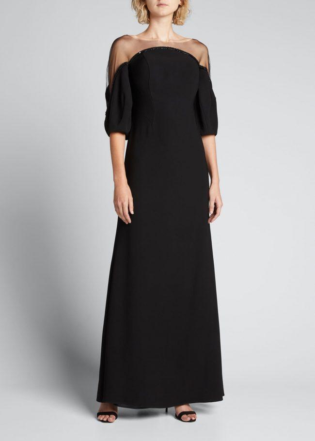 RENE RUIZ Crepe Illusion Gown.