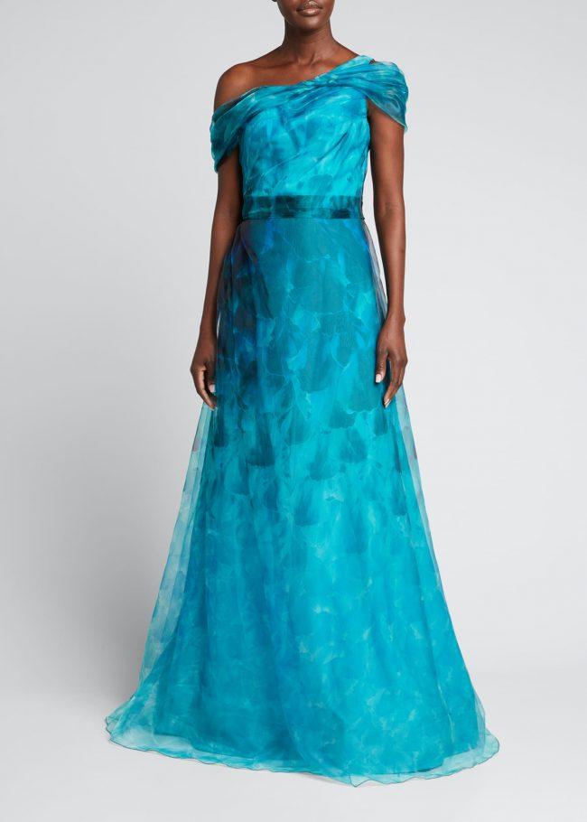 RENE RUIZ One-Shoulder Cap-Sleeve Floral Organza Gown.