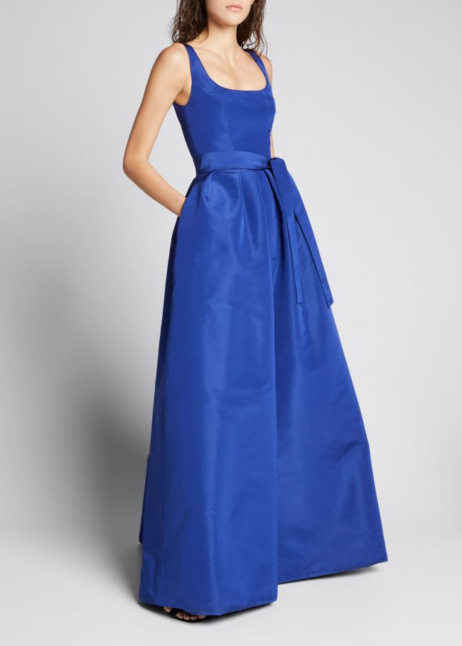 Scoop-Neck Belted Full Gown.
