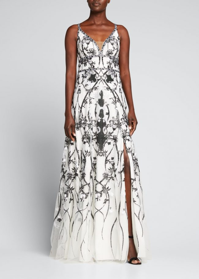 Sequin Embroidered Tulle Gown.