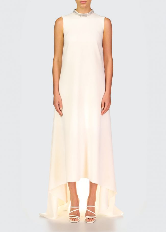 THEIA Emery High-Low Crepe Gown.