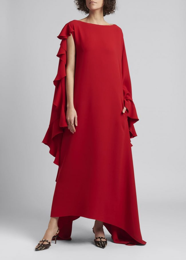 VALENTINO Asymmetrical-Sleeve Gown with Ruffle Detail.
