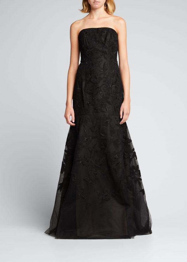 CAROLINA HERRERA Floral-Embroidered Beaded Trumpet Strapless Gown.